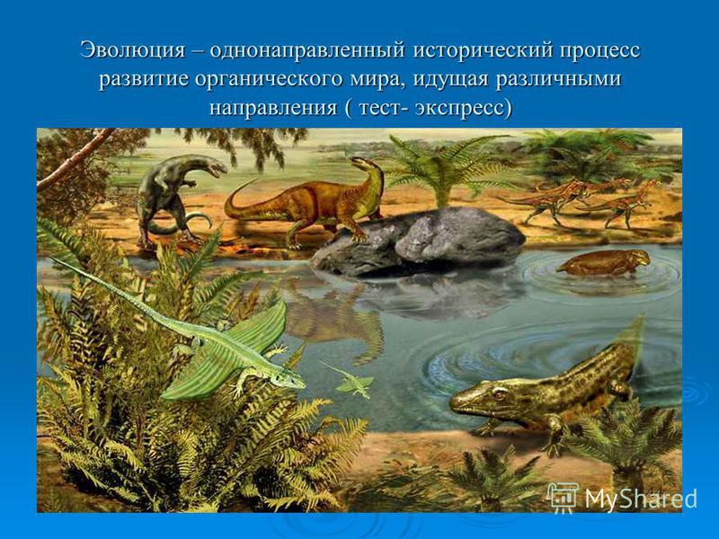 Эволюция – однонаправленный исторический процесс развитие органического мира, идущая различными направления ( тест- экспресс)