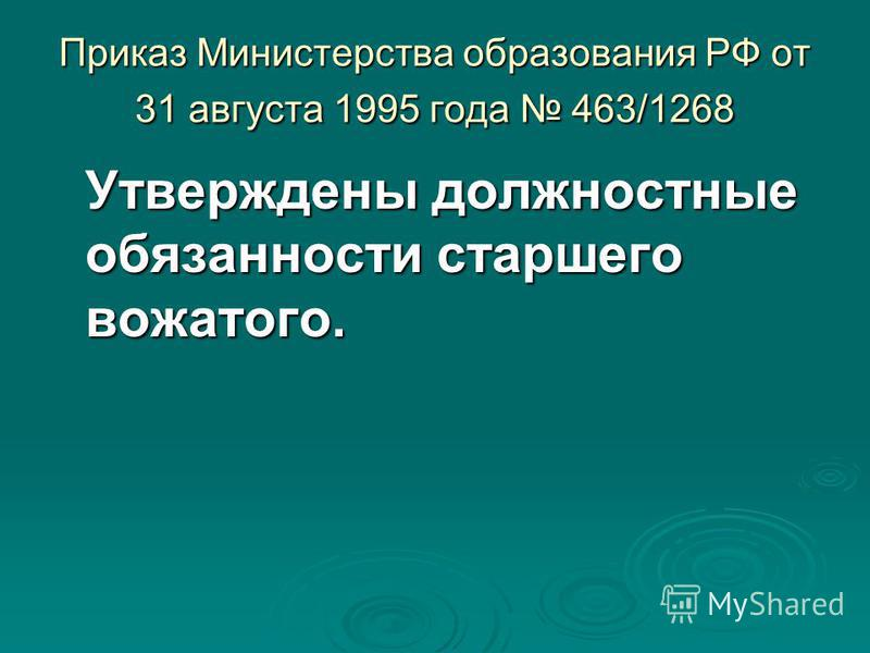 Приказ Министерства образования РФ от 31 августа 1995 года 463/1268 Утверждены должностные обязанности старшего вожатого.