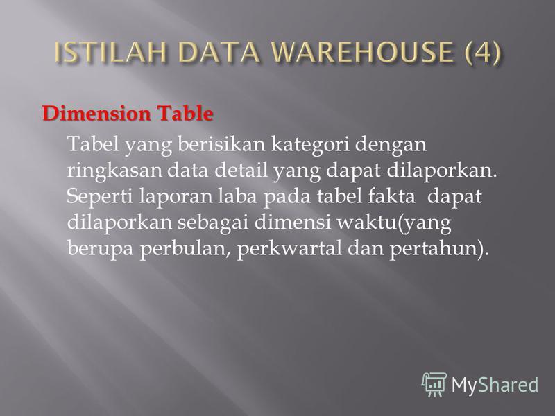 Dimension Table Tabel yang berisikan kategori dengan ringkasan data detail yang dapat dilaporkan. Seperti laporan laba pada tabel fakta dapat dilaporkan sebagai dimensi waktu(yang berupa perbulan, perkwartal dan pertahun).