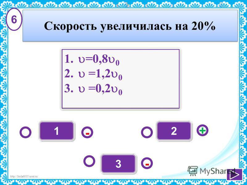 http://linda6035.ucoz.ru/ 1 - + - 2 3 1. =0,8 0 2. =1,2 0 3. =0,2 0 1. =0,8 0 2. =1,2 0 3. =0,2 0 6 Скорость увеличилась на 20%