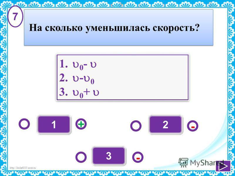 http://linda6035.ucoz.ru/ - + - 3 12 1. 0 - 2. - 0 3. 0 + 1. 0 - 2. - 0 3. 0 + 7 На сколько уменьшилась скорость?