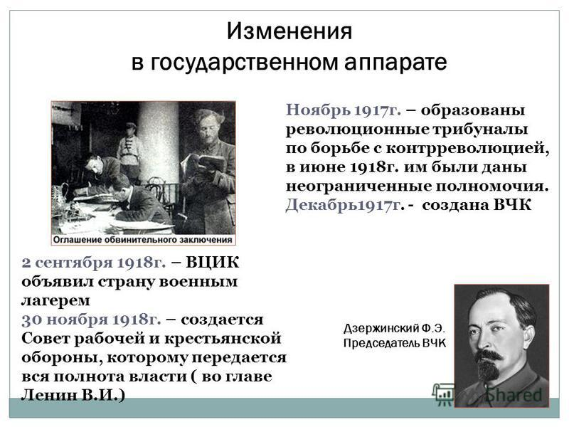 Изменения в государственном аппарате 2 сентября 1918 г. – ВЦИК объявил страну военным лагерем 30 ноября 1918 г. – создается Совет рабочей и крестьянской обороны, которому передается вся полнота власти ( во главе Ленин В.И.) Ноябрь 1917 г. – образован