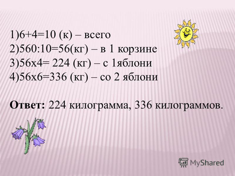 1)6+4=10 (к) – всего 2)560:10=56(кг) – в 1 корзине 3)56 х 4= 224 (кг) – с 1 яблони 4)56 х 6=336 (кг) – со 2 яблони Ответ: 224 килограмма, 336 килограммов.
