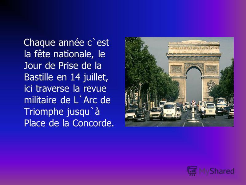 Chaque année c`est la fête nationale, le Jour de Prise de la Bastille en 14 juillet, ici traverse la revue militaire de L`Arc de Triomphe jusqu`à Place de la Concorde.