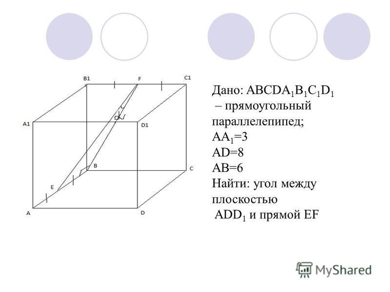 Дано: ABCDA 1 B 1 C 1 D 1 – прямоугольный параллелепипед; AA 1 =3 AD=8 AB=6 Найти: угол между плоскостью ADD 1 и прямой EF