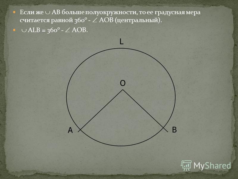 Если же АВ больше полуокружности, то ее градусная мера считается равной 360 º - АОВ ( центральный). ALB = 360 º - АОВ. L B O A