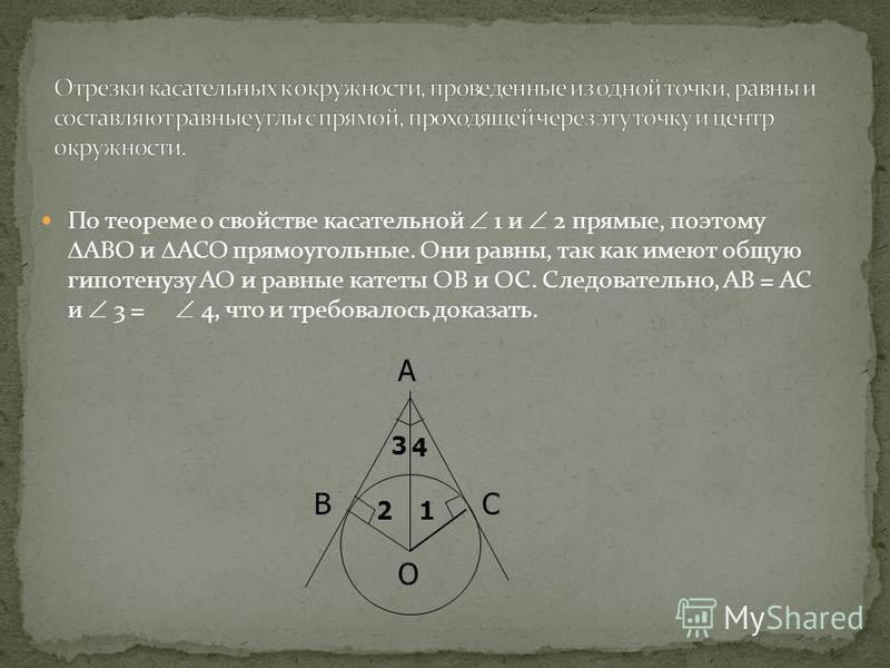 По теореме о свойстве касательной 1 и 2 прямые, поэтому АВО и АСО прямоугольные. Они равны, так как имеют общую гипотенузу АО и равные катеты ОВ и ОС. Следовательно, АВ = АС и 3 = 4, что и требовалось доказать. 21 3 4 A O BC