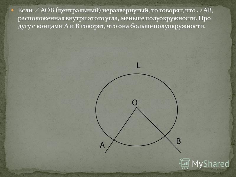 Если АОВ (центральный) неразвернутый, то говорят, что АВ, расположенная внутри этого угла, меньше полуокружности. Про дугу с концами А и В говорят, что она больше полуокружности. L O B A