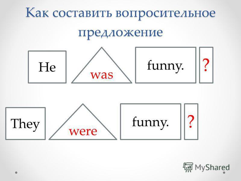 Как составить вопросительное предложение He They was were funny. ? ?