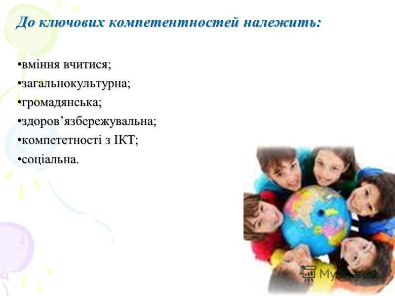 До ключових компетентностей належить: вміння вчитися;вміння вчитися; загальнокультурна;загальнокультурна; громадянська;громадянська; здоровязбережувальна;здоровязбережувальна; компететності з ІКТ;компететності з ІКТ; соціальна.соціальна.