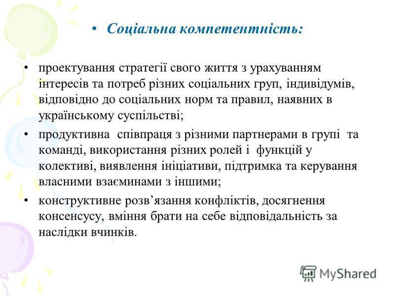 Соціальна компетентність: проектування стратегії свого життя з урахуванням інтересів та потреб різних соціальних груп, індивідумів, відповідно до соціальних норм та правил, наявних в українському суспільстві; продуктивна співпраця з різними партнерам