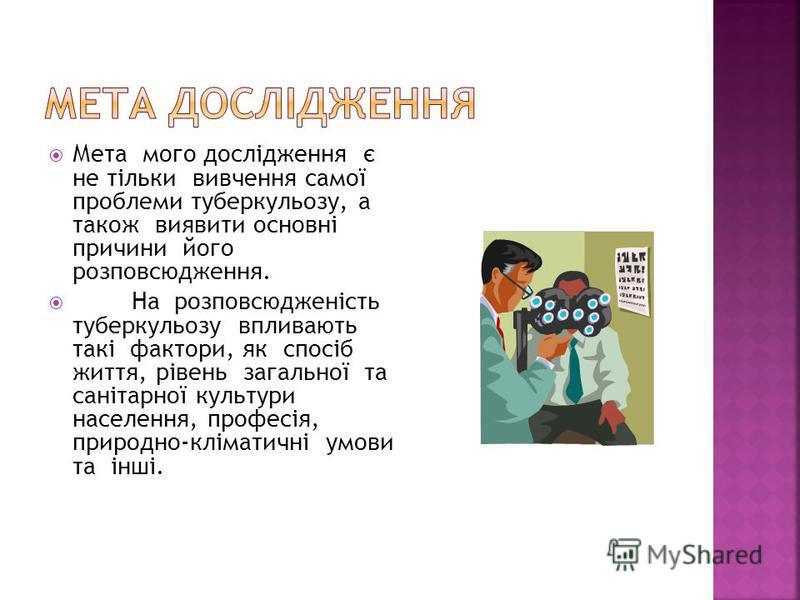 Мета мого дослідження є не тільки вивчення самої проблеми туберкульозу, а також виявити основні причини його розповсюдження. На розповсюдженість туберкульозу впливають такі фактори, як спосіб життя, рівень загальної та санітарної культури населення,