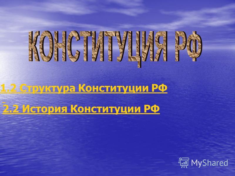 1.2 Структура Конституции РФ 2.2 История Конституции РФ