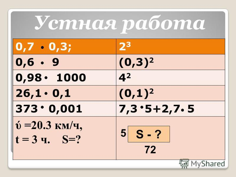 0,7 0,3;2323 0,6 9(0,3) 2 0,98 10004242 26,1 0,1(0,1) 2 373 0,0017,3 5+2,7 5 ύ =20.3 км/ч, t = 3 ч. S=? S - ? 72 5 Устная работа