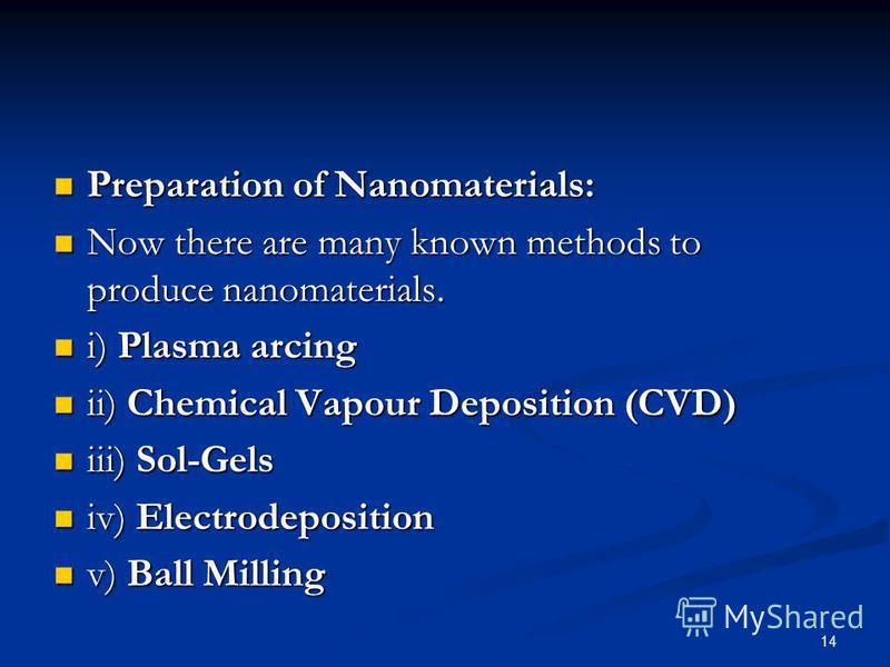 14 Preparation of Nanomaterials: Preparation of Nanomaterials: Now there are many known methods to produce nanomaterials. Now there are many known methods to produce nanomaterials. i) Plasma arcing i) Plasma arcing ii) Chemical Vapour Deposition (CVD