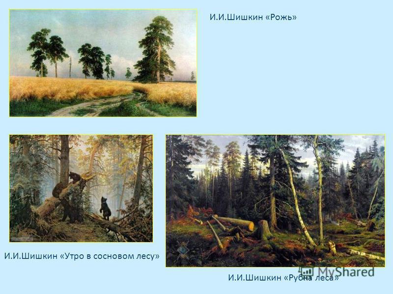 И.И.Шишкин «Рожь» И.И.Шишкин «Рубка леса» И.И.Шишкин «Утро в сосновом лесу»