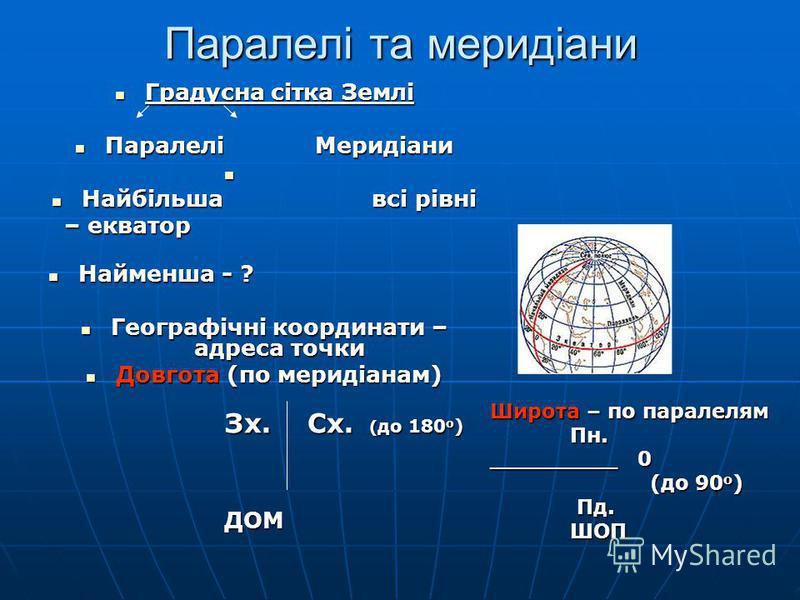 Паралелі та меридіани Градусна сітка Землі Градусна сітка Землі ПаралеліМеридіани ПаралеліМеридіани Найбільша всі рівні Найбільша всі рівні – екватор Найменша - ? Найменша - ? Географічні координати – адреса точки Географічні координати – адреса точк