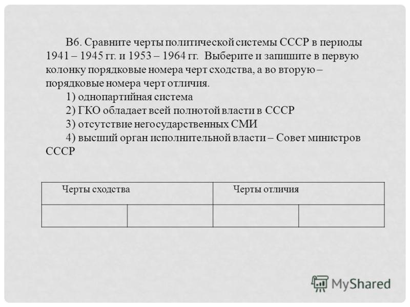 Черты сходства Черты отличия В6. Сравните черты политической системы СССР в периоды 1941 – 1945 гг. и 1953 – 1964 гг. Выберите и запишите в первую колонку порядковые номера черт сходства, а во вторую – порядковые номера черт отличия. 1) однопартийная