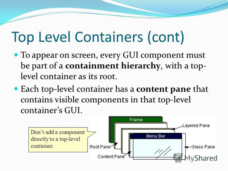 Top Level Containers (cont) To appear on screen, every GUI component must be part of a containment hierarchy, with a top- level container as its root. Each top-level container has a content pane that contains visible components in that top-level cont
