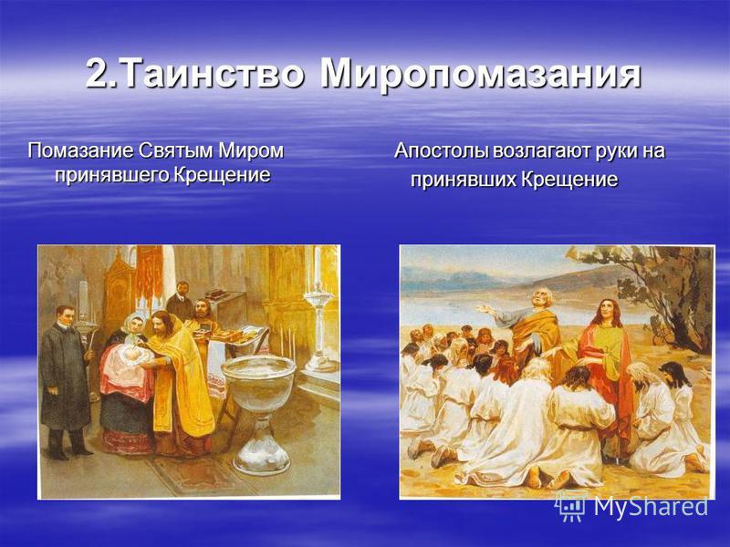 2. Таинство Миропомазания Помазание Святым Миром принявшего Крещение Апостолы возлагают руки на Апостолы возлагают руки на принявших Крещение принявших Крещение