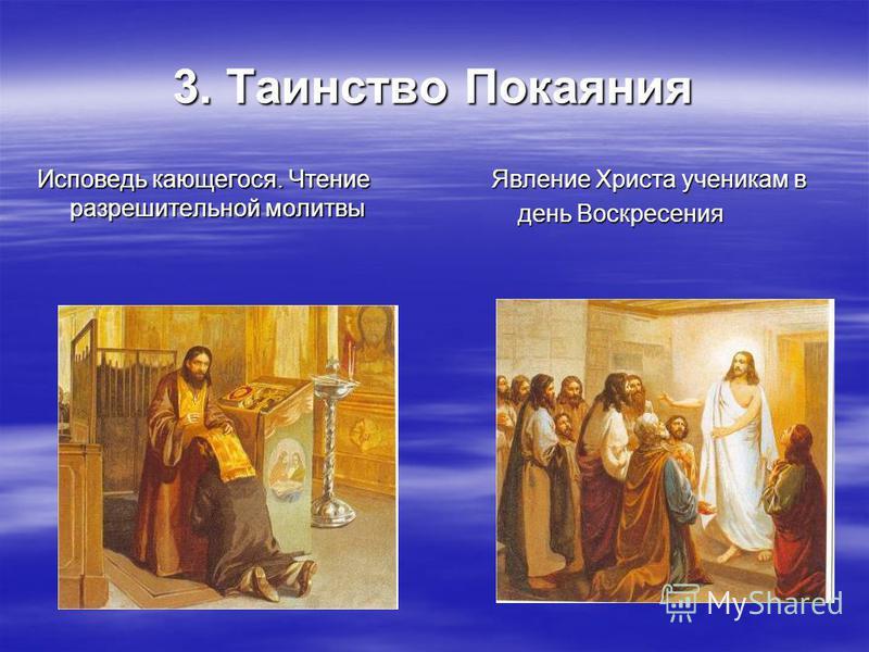 3. Таинство Покаяния Исповедь кающегося. Чтение разрешительной молитвы Явление Христа ученикам в Явление Христа ученикам в день Воскресения день Воскресения