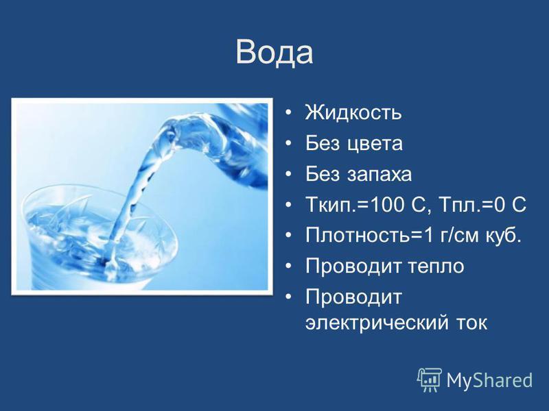 Вода Жидкость Без цвета Без запаха Ткип.=100 С, Тпл.=0 С Плотность=1 г/см куб. Проводит тепло Проводит электрический ток