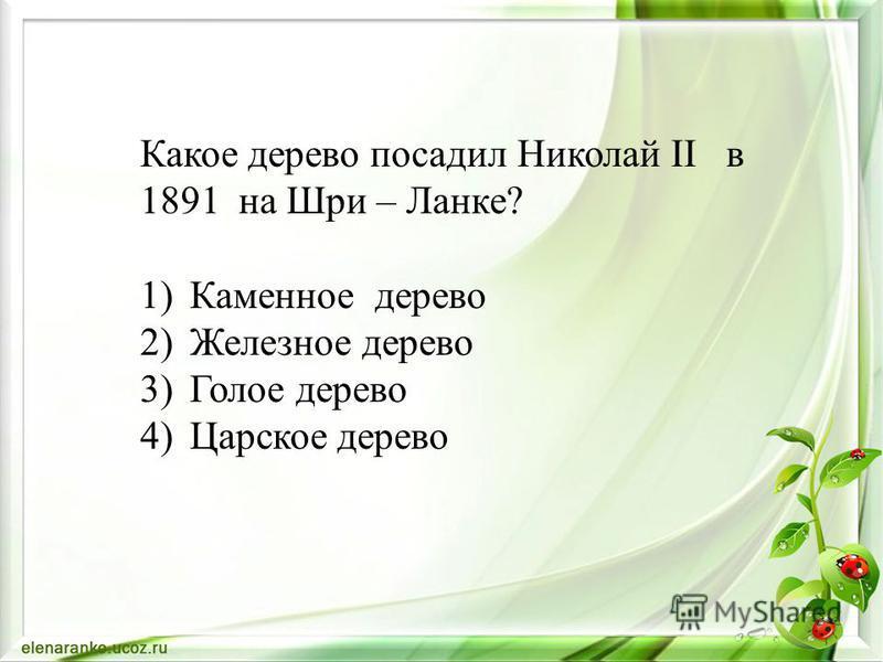 Какое дерево посадил Николай II в 1891 на Шри – Ланке? 1)Каменное дерево 2)Железное дерево 3)Голое дерево 4)Царское дерево