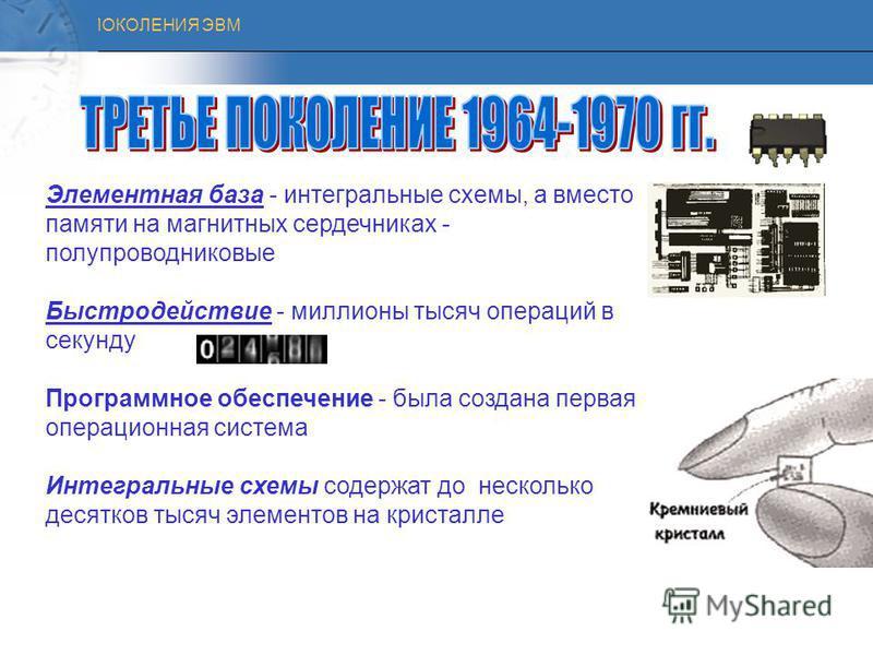 ПОКОЛЕНИЯ ЭВМ История развития ЭВМ Первое поколение ЭВМ (1948 1958 гг.) Второе поколение ЭВМ (1959 1967 гг.) Третье поколение ЭВМ (1968 1973 гг.) Четвертое поколение ЭВМ (1974 1982 гг.)