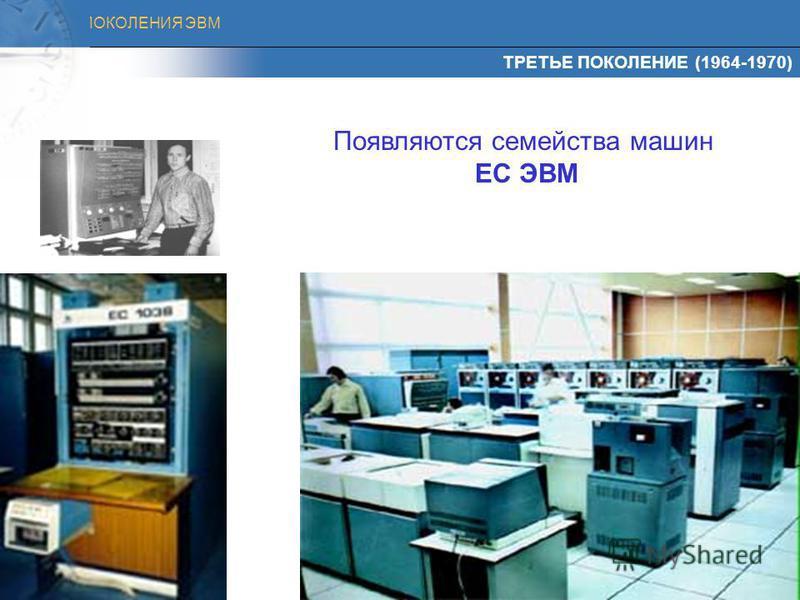 ПОКОЛЕНИЯ ЭВМ Элементная база - интегральные схемы, а вместо памяти на магнитных сердечниках - полупроводниковые Быстродействие - миллионы тысяч операций в секунду Программное обеспечение - была создана первая операционная система Интегральные схемы