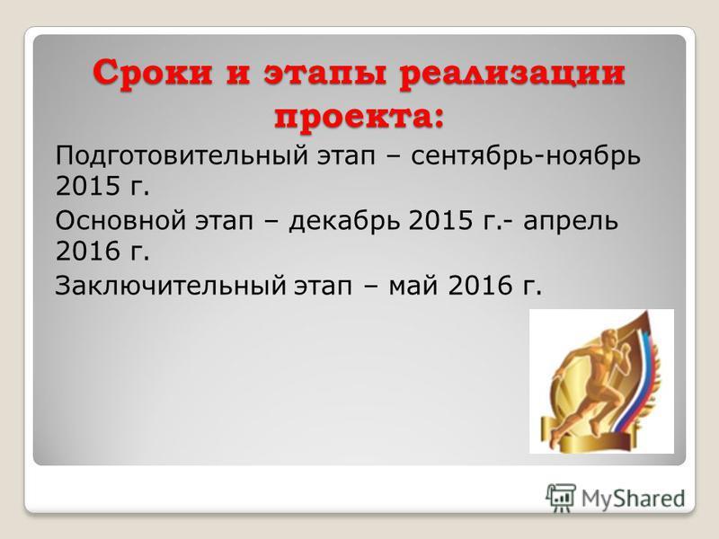 Сроки и этапы реализации проекта: Подготовительный этап – сентябрь-ноябрь 2015 г. Основной этап – декабрь 2015 г.- апрель 2016 г. Заключительный этап – май 2016 г.