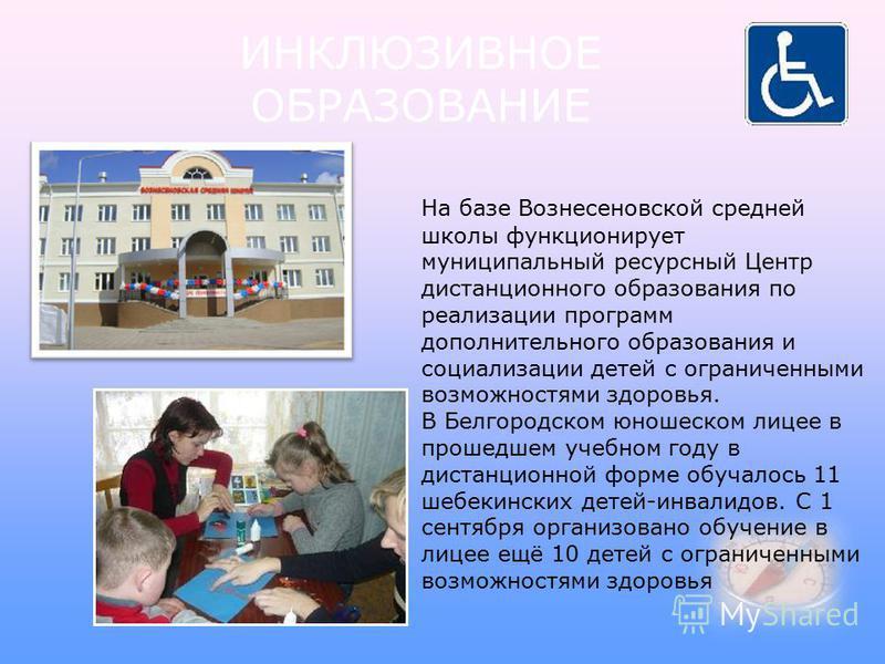 На базе Вознесеновской средней школы функционирует муниципальный ресурсный Центр дистанционного образования по реализации программ дополнительного образования и социализации детей с ограниченными возможностями здоровья. В Белгородском юношеском лицее