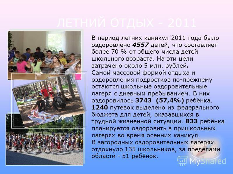 В период летних каникул 2011 года было оздоровлено 4557 детей, что составляет более 70 % от общего числа детей школьного возраста. На эти цели затрачено около 5 млн. рублей. Самой массовой формой отдыха и оздоровления подростков по-прежнему остаются
