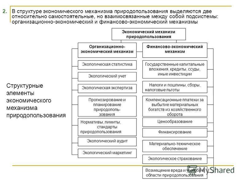 2. В структуре экономического механизма природопользования выделяются две относительно самостоятельные, но взаимосвязанные между собой подсистемы: организационно-экономический и финансово-экономический механизмы Экономический механизм природопользова