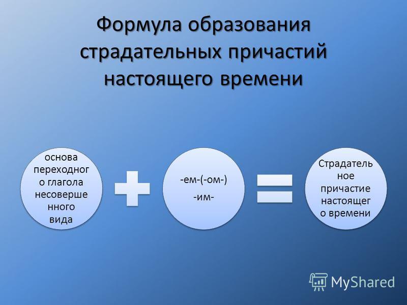 Формула образования страдательных причастий настоящего времени основа переходного глагола несовершенного вида -ем-(-ом-) -им- Страдатель ное причастие настоящего времени