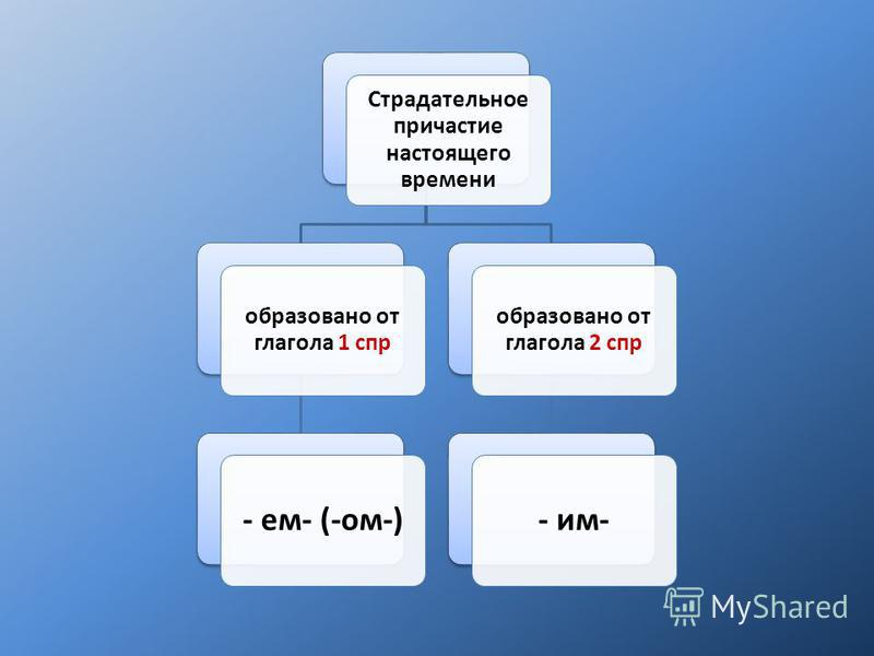 Страдательное причастие настоящего времени образовано от глагола 1 спр - ем- (-ом-) образовано от глагола 2 спр - им-