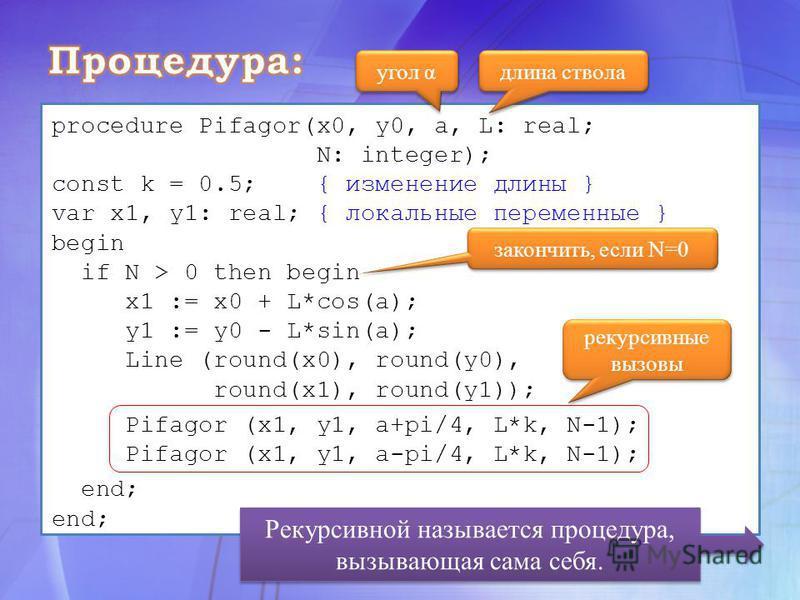 угол α длина ствола procedure Pifagor(x0, y0, a, L: real; N: integer); const k = 0.5; { изменение длины } var x1, y1: real; { локальные переменные } begin if N > 0 then begin x1 := x0 + L*cos(a); y1 := y0 - L*sin(a); Line (round(x0), round(y0), round