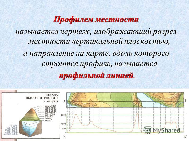 Профилем местности называется чертеж, изображающий разрез местности вертикальной плоскостью, а направление на карте, вдоль которого строится профиль, называется профильной линией. профильной линией.