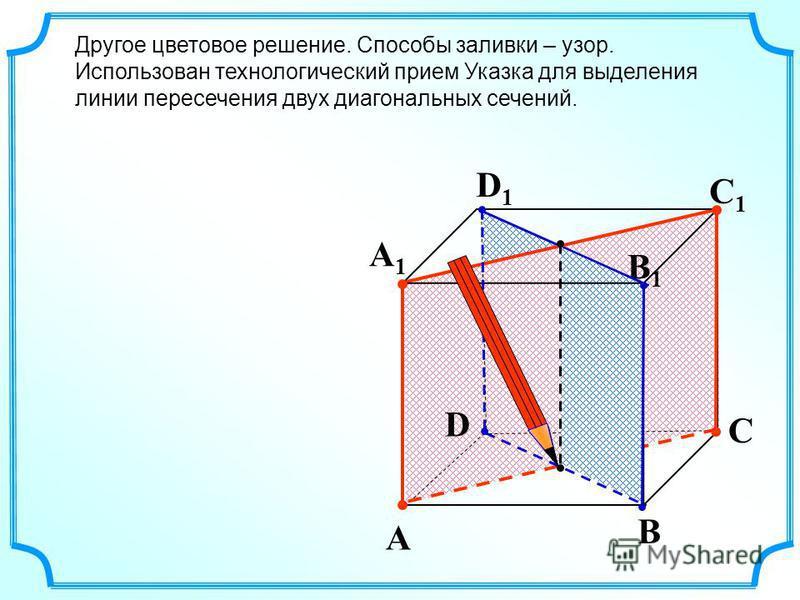 A B C D A1A1 D1D1 C1C1 B1B1 Другое цветовое решение. Способы заливки – узор. Использован технологический прием Указка для выделения линии пересечения двух диагональных сечений.