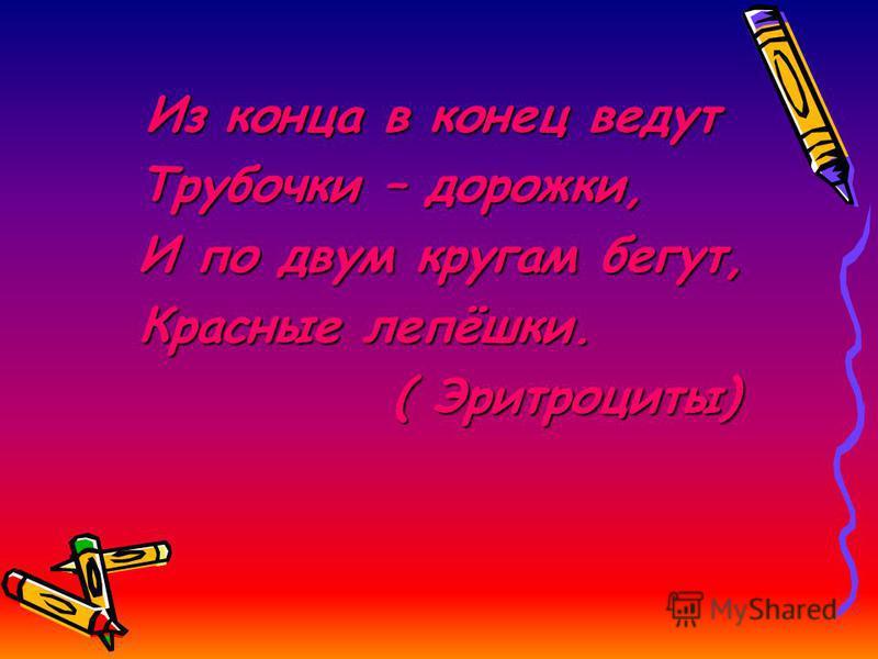 Из конца в конец ведут Трубочки – дорожки, Трубочки – дорожки, И по двум кругам бегут, И по двум кругам бегут, Красные лепёшки. Красные лепёшки. ( Эритроциты) ( Эритроциты)