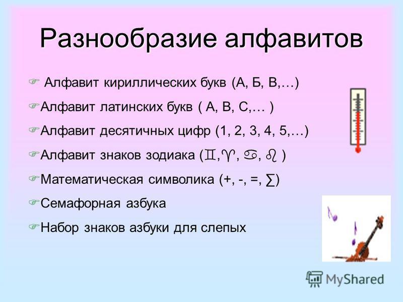 Разнообразие алфавитов Алфавит кириллических букв (А, Б, В,…) Алфавит латинских букв ( А, В, С,… ) Алфавит десятичных цифр (1, 2, 3, 4, 5,…) Алфавит знаков зодиака (,,, ) Математическая символика (+, -, =, ) Семафорная азбука Набор знаков азбуки для