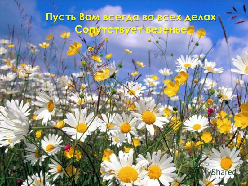 Пусть Вам всегда во всех делах Сопутствует везенье