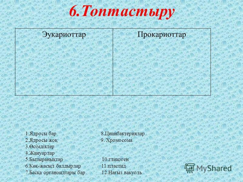 6.Топтастыру ЭукариоттарПрокариоттар 1.Ядросы бар 8.Цианбактериялар 2.Ядросы жоқ 9. Хромосома 3.Өсімдіктер 4.Жануарлар 5.Бытыранықтар 10.гликоген 6.Көк-жасыл балдырлар 11.пластид 7.Басқа органоидтары бар 12.Нағыз вакуоль