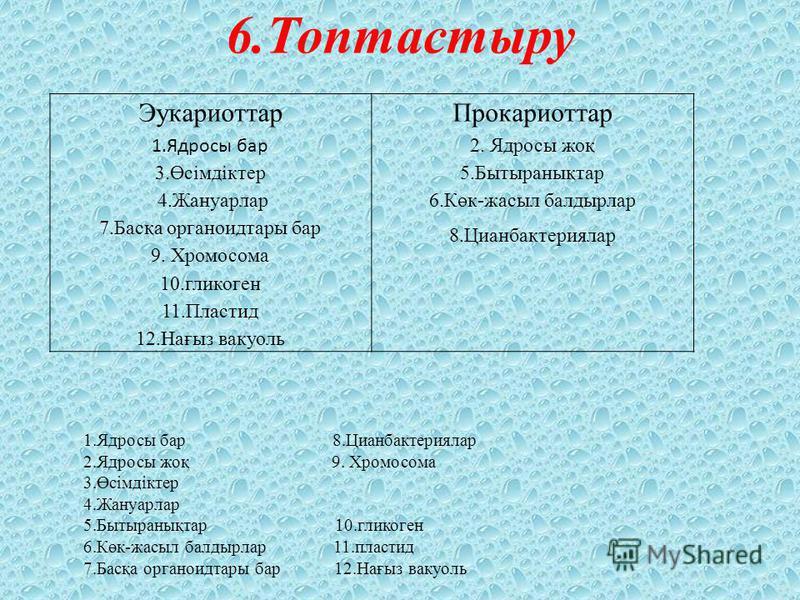 6.Топтастыру Эукариоттар 1.Ядросы бар 3.Өсімдіктер 4.Жануарлар 7.Басқа органоидтары бар 9. Хромосома 10.гликоген 11.Пластид 12.Нағыз вакуоль Прокариоттар 2. Ядросы жоқ 5.Бытыранықтар 6.Көк-жасыл балдырлар 8.Цианбактериялар 1.Ядросы бар 8.Цианбактерия
