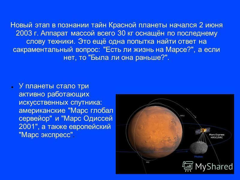 Новый этап в познании тайн Красной планеты начался 2 июня 2003 г. Аппарат массой всего 30 кг оснащён по последнему слову техники. Это ещё одна попытка найти ответ на сакраментальный вопрос: