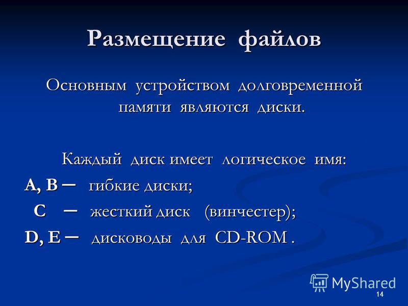 14 Размещение файлов Основным устройством долговременной памяти являются диски. Каждый диск имеет логическое имя: А, В гибкие диски; С жесткий диск (винчестер); С жесткий диск (винчестер); D, E дисководы для CD-ROM.