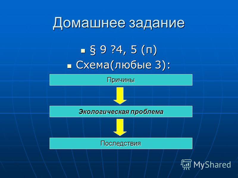 Домашнее задание § 9 ?4, 5 (п) § 9 ?4, 5 (п) Схема(любые 3): Схема(любые 3): Причины Экологическая проблема Последствия