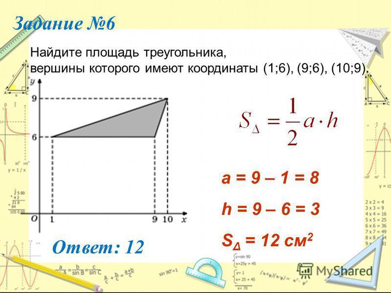 Задание 6 Найдите площадь треугольника, вершины которого имеют координаты (1;6), (9;6), (10;9). Ответ: 12 a = 9 – 1 = 8 h = 9 – 6 = 3 S Δ = 12 см 2