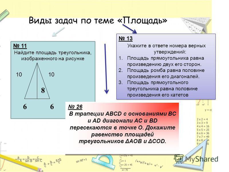 11 Найдите площадь треугольника, изображенного на рисунке 13 Укажите в ответе номера верных утверждений: 1. Площадь прямоугольника равна произведению двух его сторон. 2. Площадь ромба равна половине произведения его диагоналей. 3. Площадь прямоугольн