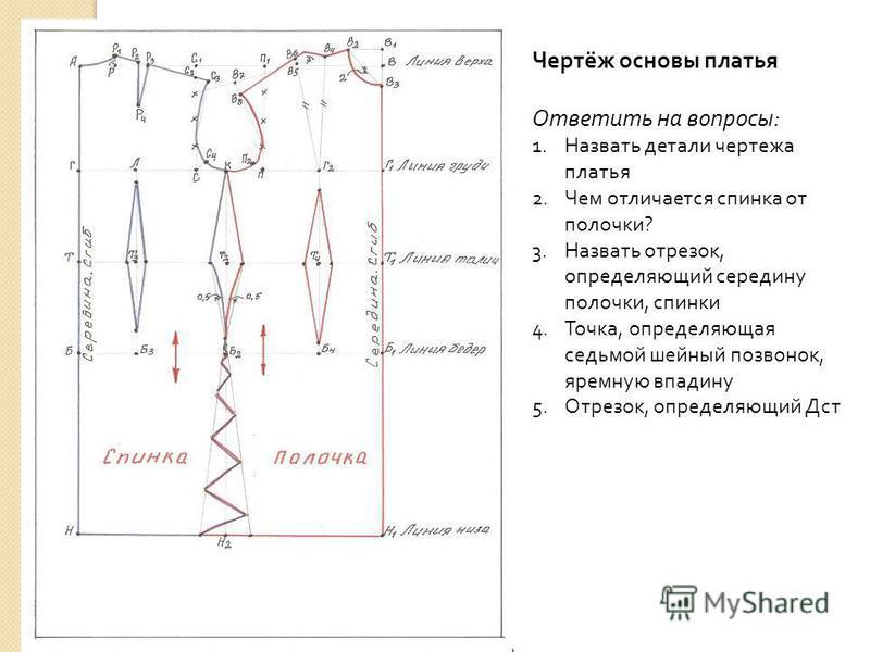Чертёж основы платья Ответить на вопросы : 1. Назвать детали чертежа платья 2. Чем отличается спинка от полочки ? 3. Назвать отрезок, определяющий середину полочки, спинки 4.Точка, определяющая седьмой шейный позвонок, яремную впадину 5.Отрезок, опре