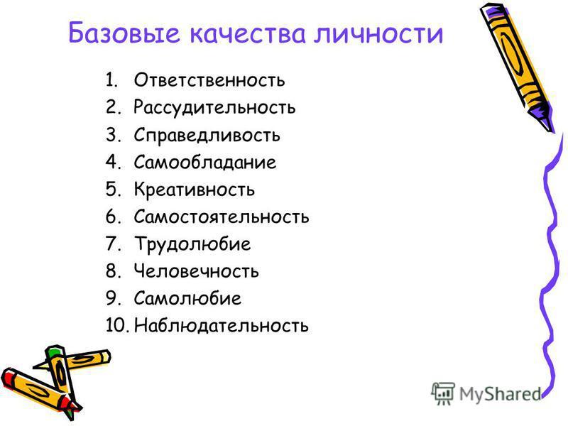 Базовые качества личности 1.Ответственность 2.Рассудительность 3.Справедливость 4.Самообладание 5.Креативность 6.Самостоятельность 7.Трудолюбие 8.Человечность 9.Самолюбие 10.Наблюдательность